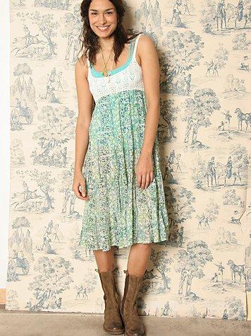 Crochet & Batik Tiered Dress