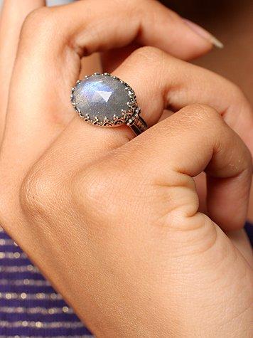 Semi Precious Faceted Silver Ring